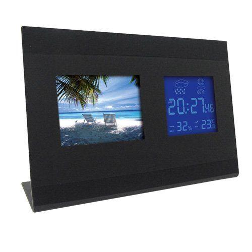 Relógio digital com moldura meteorológica