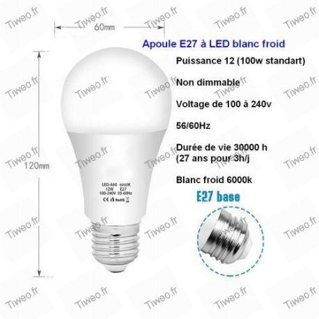 Lâmpada LED E27 12W equivalente 100W branco frio
