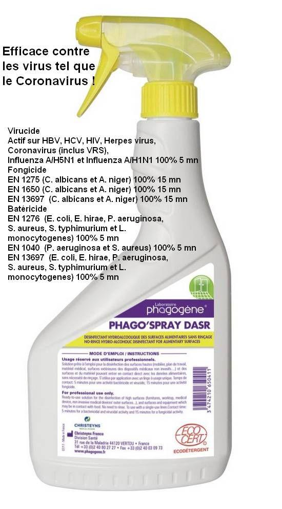 Phago spray DASR Désinfectant Coronavirus Virucide Bactéricide