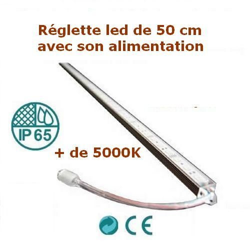 Réglette LED 50 cm blanc froid alimentation 12V fournie