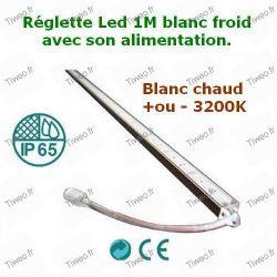 Réglette LED blanc chaud avec alimentation