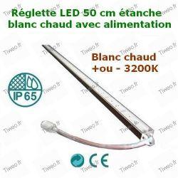 Réglette LED 50 cm blanc chaud avec alimentation