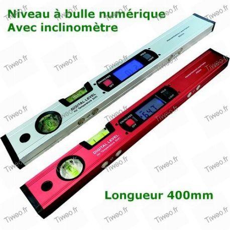Niveau à bulles numérique avec inclinomètre et aimants de 400mm