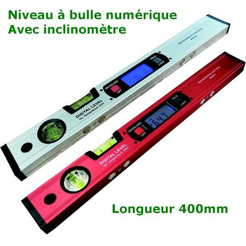 Niveau à bulles digital numérique avec inclinomètre et aimants de 400mm