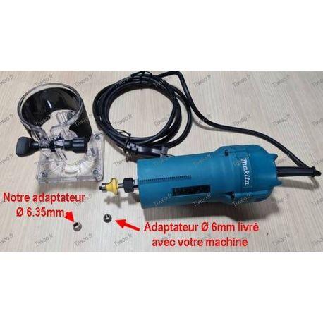Adaptador de 6,35 mm para aparador de roteador Makita