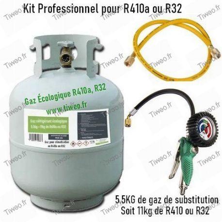 Kit recharge gaz écologique R32, R410a avec manomètre et flexible